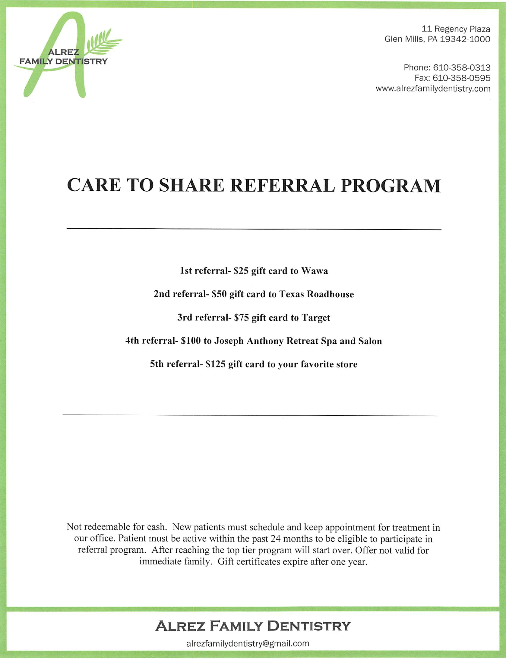 care to share Alrez Family Dentistry Referral program